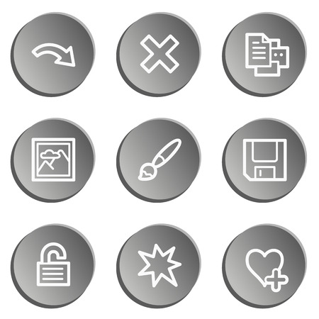 edit icon: Image viewer web icon set 2, grey stickers set Illustration