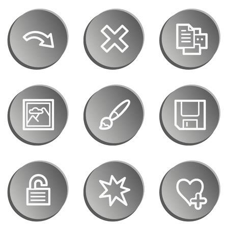 viewer: Image viewer web icon set 2, grey stickers set Illustration