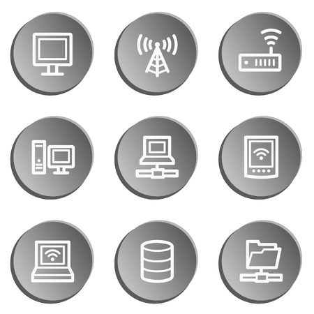 Network web icons , grey stickers set Vector
