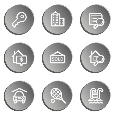 real tennis: Real estate web icons, grey stickers set