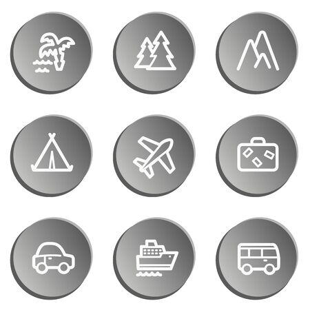 air liner: Travel  web icon set 1,  grey stickers set