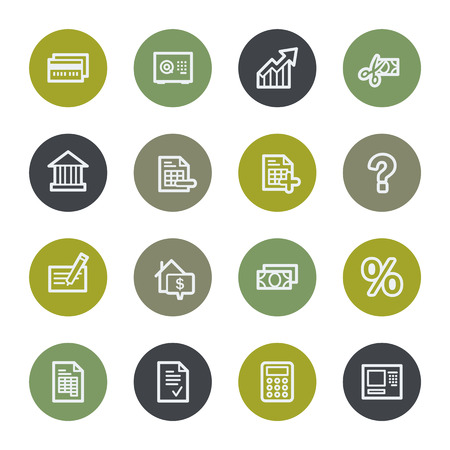 Banking web icons set, color buttons Vector