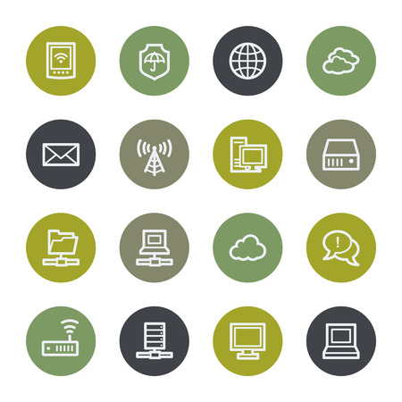 access point: Cloud computing web icons set, color buttons Illustration