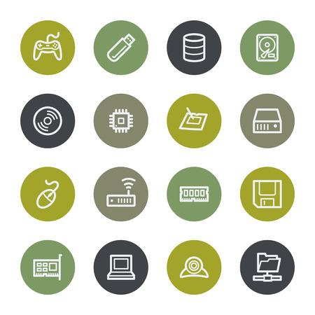 mouse pad: Computers web icons set, color buttons Illustration