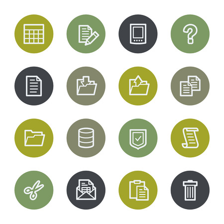 Document web icons set, color buttons Vector