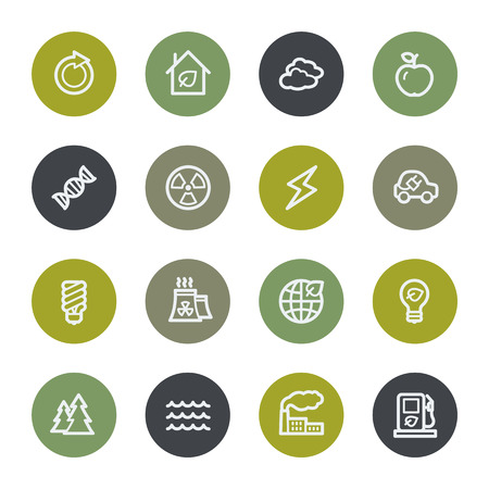 Eco web icons set, color buttons Vector