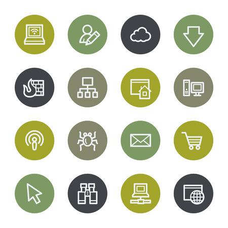 bugs shopping: Internet web iconos conjunto, botones de color