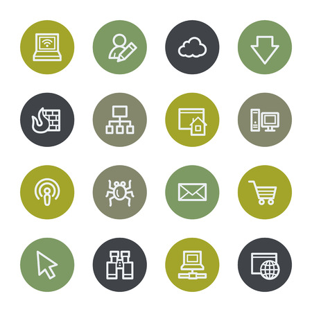 bugs shopping: Internet web icons set, color buttons