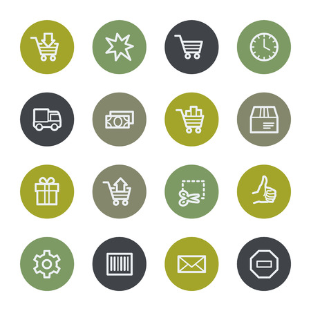 web buttons: Shopping cart web icons set, color buttons Illustration