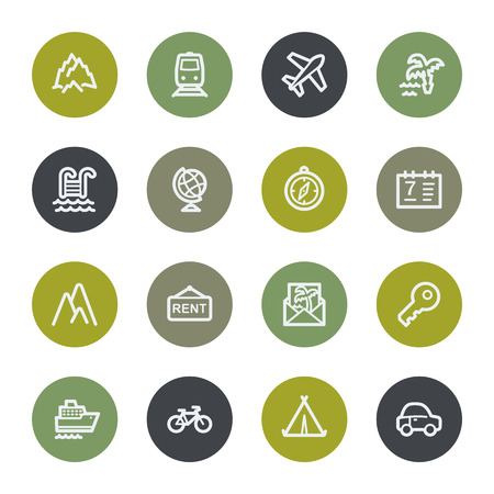 Travel web icons set, color buttons Vector