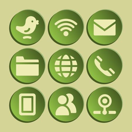 webcamera: Communication web icons set. Green sticker. Illustration