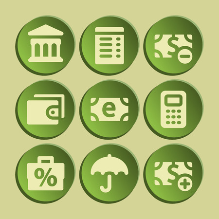 Finance web icons set. Green sticker. Vector