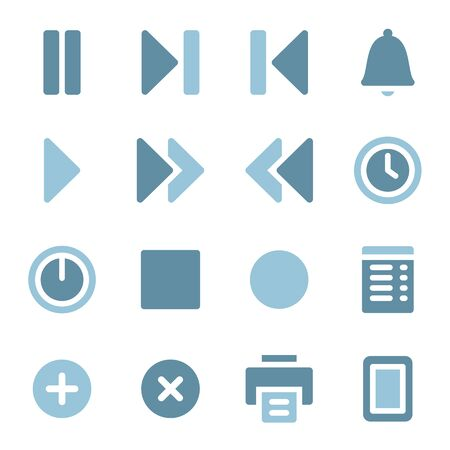 Media player web icons set Vector