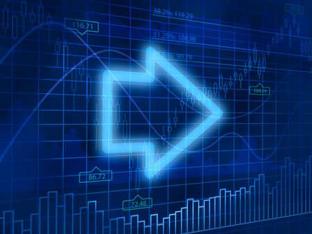 finance background: Arrow on finance background Stock Photo