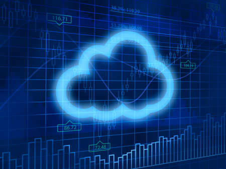 finance background: Cloud computing symbol on finance background Stock Photo