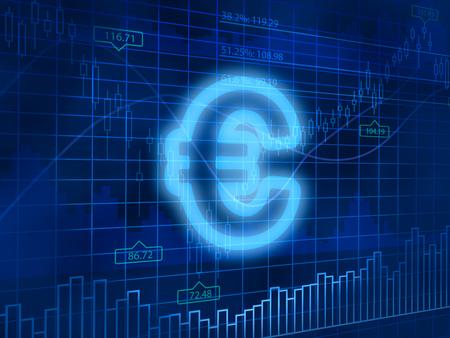 finance background: Euro symbol on finance background Stock Photo