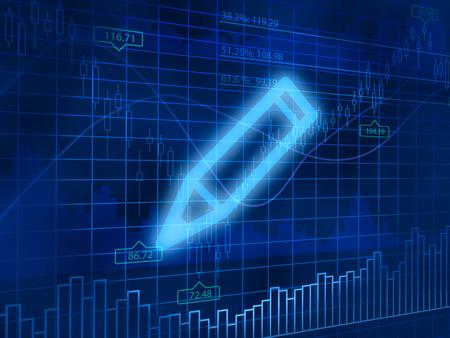 finance background: Pencil symbol on finance background Stock Photo