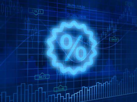 finance background: Percent symbol on finance background