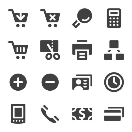 business credit application: Shopping web icons set