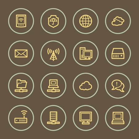 access point: Cloud computing web icons set, coffee series