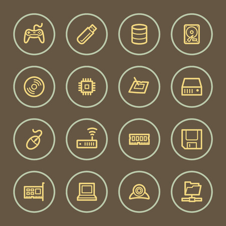 mouse pad: Computers web icons set, coffee series