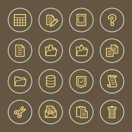 Document web icons set, coffee series Vector