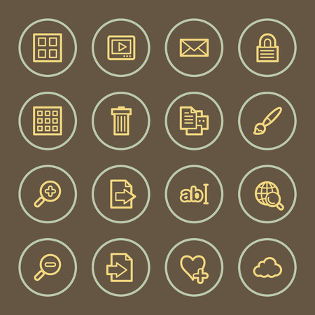 Photo collection web icons set, coffee series Vector