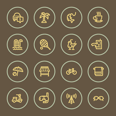 Vacation web icons set, coffee series Vector