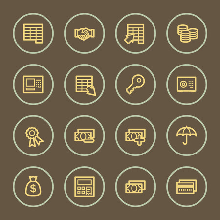 withdraw: Banking web icons set, coffee series Illustration