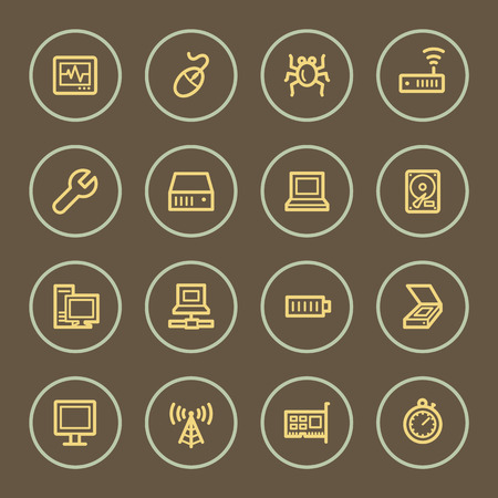 Computers web icons set, coffee series Vector