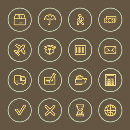 air liner: Delivery web icons set, coffee series