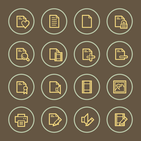 Document web icons set, coffee series Vector