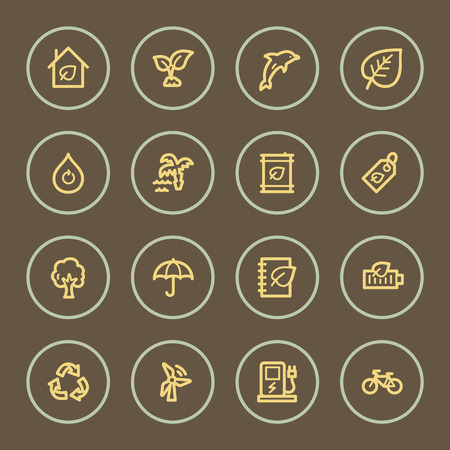 Eco web icons set, coffee series Vector