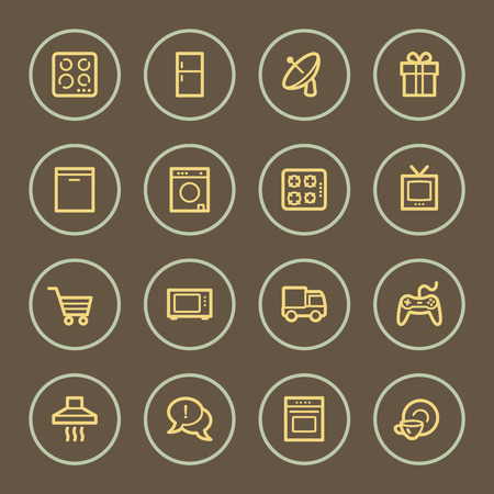 home appliances: Home appliances web icons set, coffee series Illustration