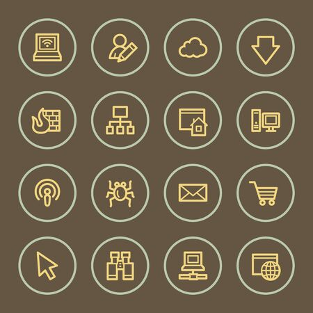 Internet web icons set, coffee series Vector