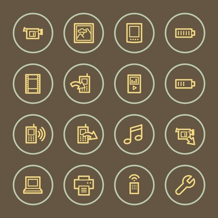Mobile content web icons set, coffee series Vector