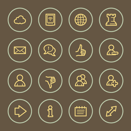 Social media web icons set, coffee series Vector