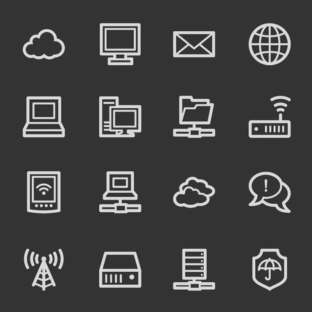 access point: Cloud computing & internet web icons, grey set