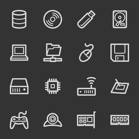 components: Computer components web icon set 1, grey set Illustration