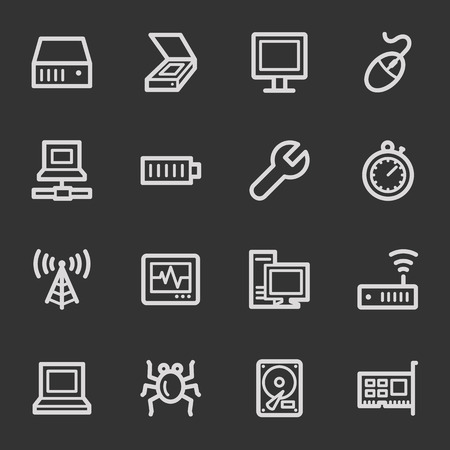 Computer components web icon set 2, grey set