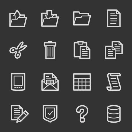 Document web icon set 2, grey set Vector