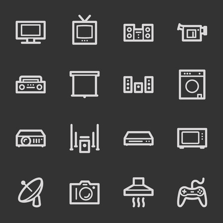 Home Appliance web icons, grey set Vector