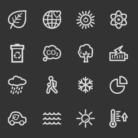 web 2: Green ecology web icon set 2, grey set