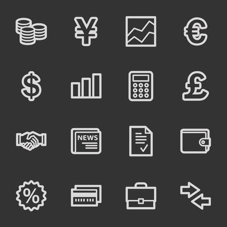 Finance web icons, grey set Vector