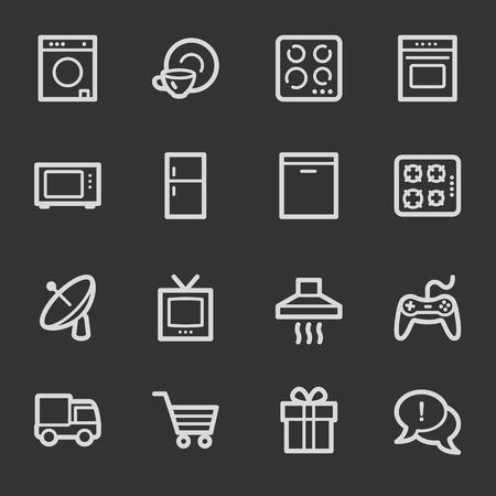 Home appliances web icons, grey set Vector