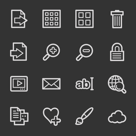 Image viewer web icons, grey set Vector