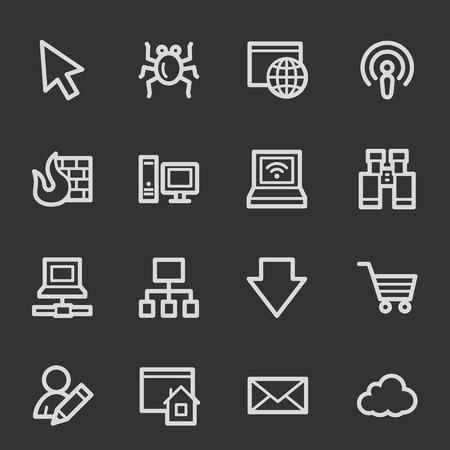 bugs shopping: Iconos de la web de Internet, conjunto gris Vectores