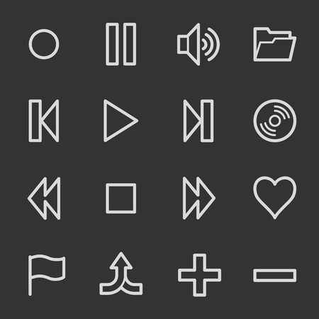 del: Media player web icons, grey set