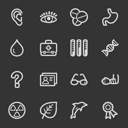 Medicine web icon set 2, grey set Vector