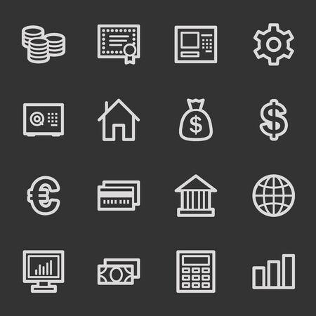 Money web icons, grey set Vector